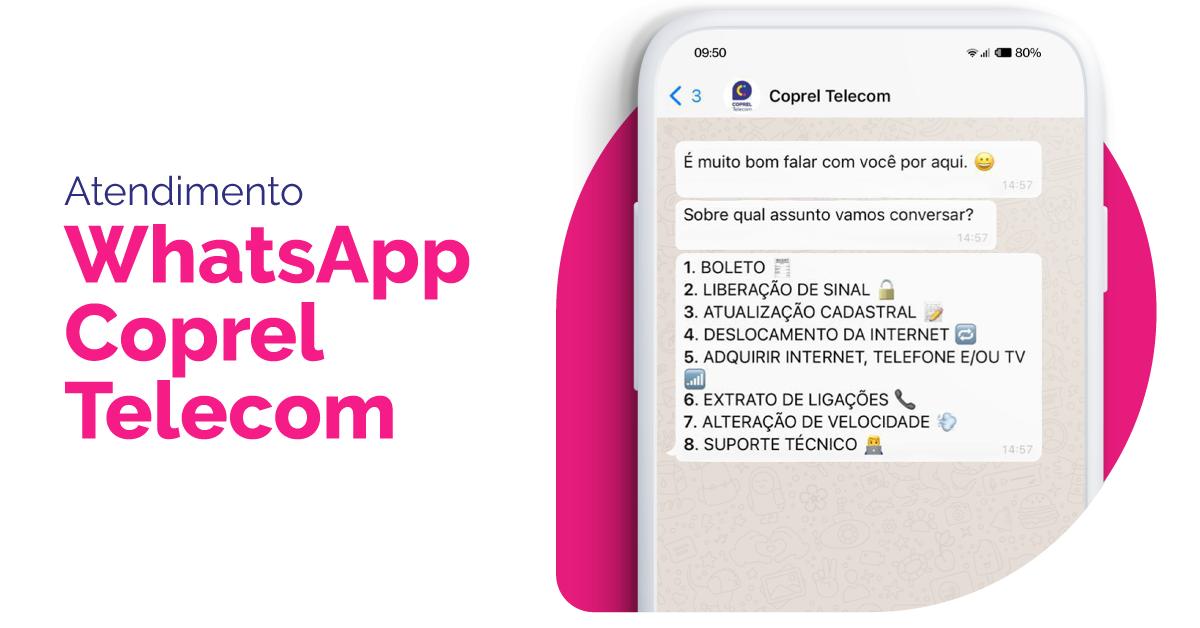 Coprel Telecom conta com atendimento via WhatsApp